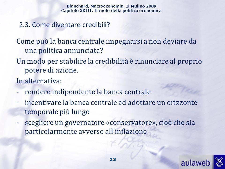 Blanchard, Macroeconomia, Il Mulino 2009 Capitolo XXIII. Il ruolo della politica economica 13 Come può la banca centrale impegnarsi a non deviare da u