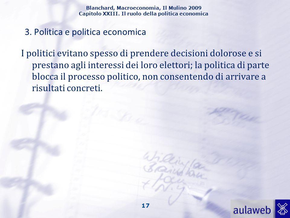 Blanchard, Macroeconomia, Il Mulino 2009 Capitolo XXIII. Il ruolo della politica economica 17 I politici evitano spesso di prendere decisioni dolorose