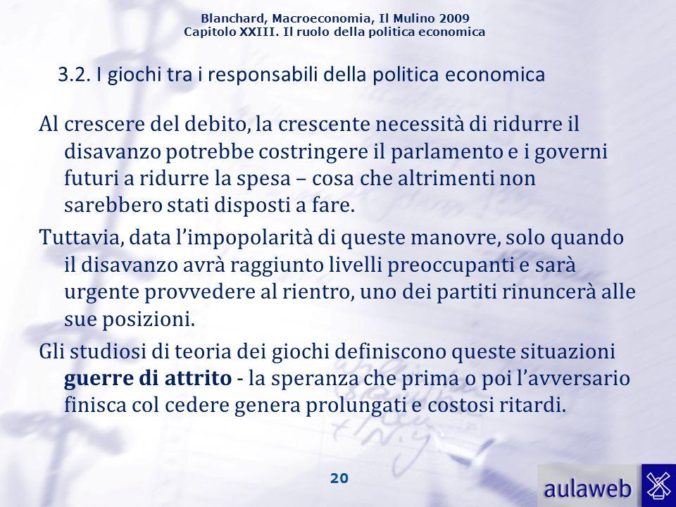 Blanchard, Macroeconomia, Il Mulino 2009 Capitolo XXIII. Il ruolo della politica economica 20 Al crescere del debito, la crescente necessità di ridurr