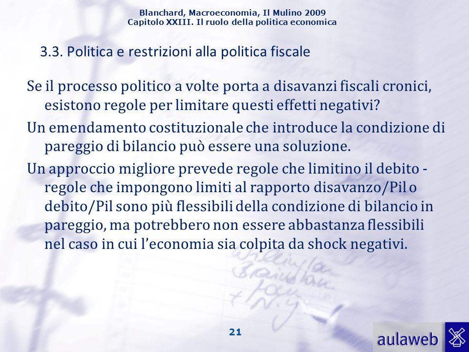 Blanchard, Macroeconomia, Il Mulino 2009 Capitolo XXIII. Il ruolo della politica economica 21 Se il processo politico a volte porta a disavanzi fiscal
