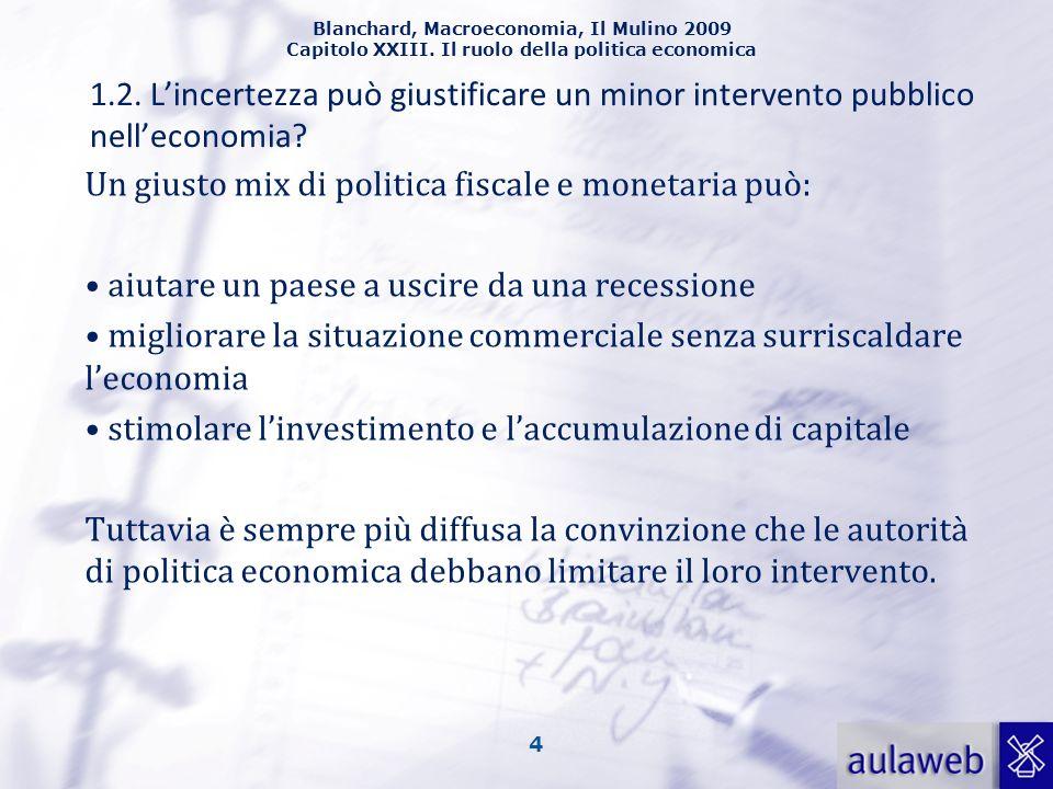 Blanchard, Macroeconomia, Il Mulino 2009 Capitolo XXIII. Il ruolo della politica economica 4 1.2. Lincertezza può giustificare un minor intervento pub