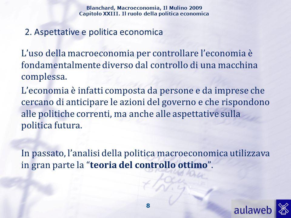 Blanchard, Macroeconomia, Il Mulino 2009 Capitolo XXIII. Il ruolo della politica economica 8 Luso della macroeconomia per controllare leconomia è fond