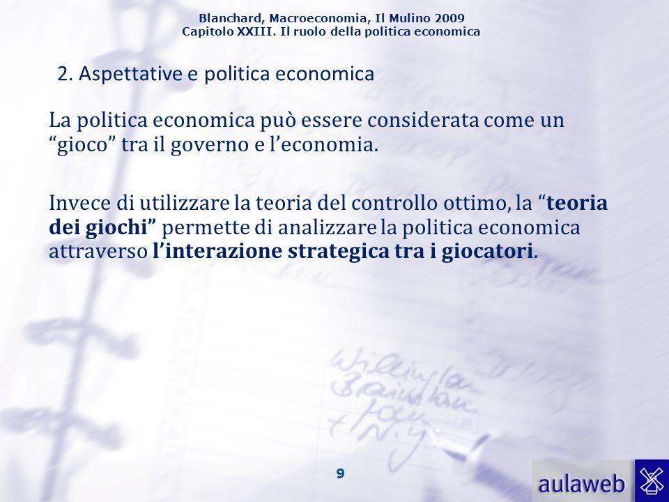 Blanchard, Macroeconomia, Il Mulino 2009 Capitolo XXIII. Il ruolo della politica economica 9 La politica economica può essere considerata come un gioc