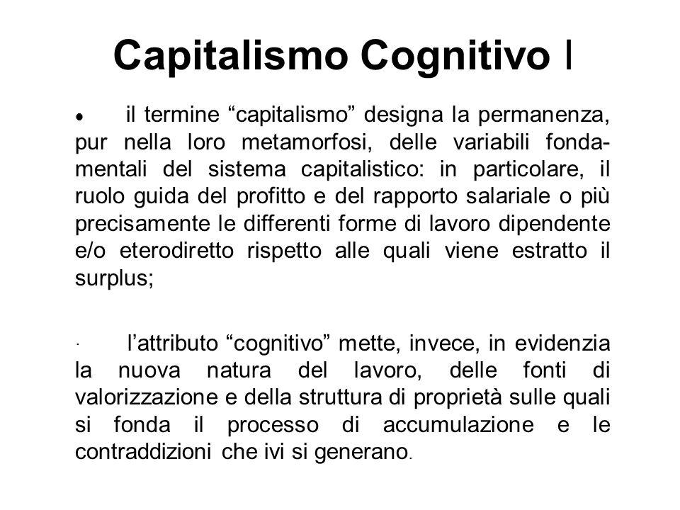 Capitalismo Cognitivo I il termine capitalismo designa la permanenza, pur nella loro metamorfosi, delle variabili fonda- mentali del sistema capitalis