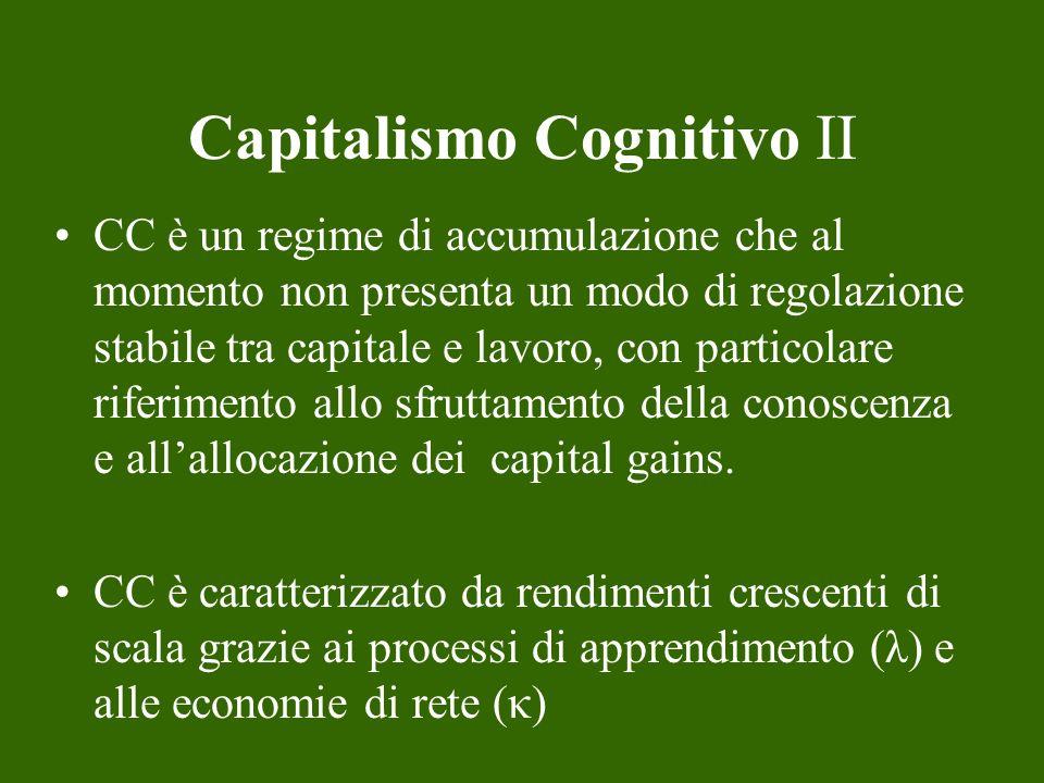 Capitalismo Cognitivo II CC è un regime di accumulazione che al momento non presenta un modo di regolazione stabile tra capitale e lavoro, con partico