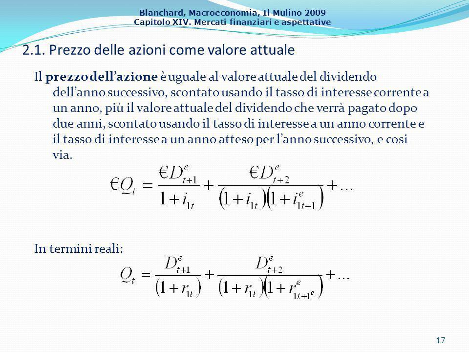 Blanchard, Macroeconomia, Il Mulino 2009 Capitolo XIV. Mercati finanziari e aspettative 2.1. Prezzo delle azioni come valore attuale Il prezzo dellazi