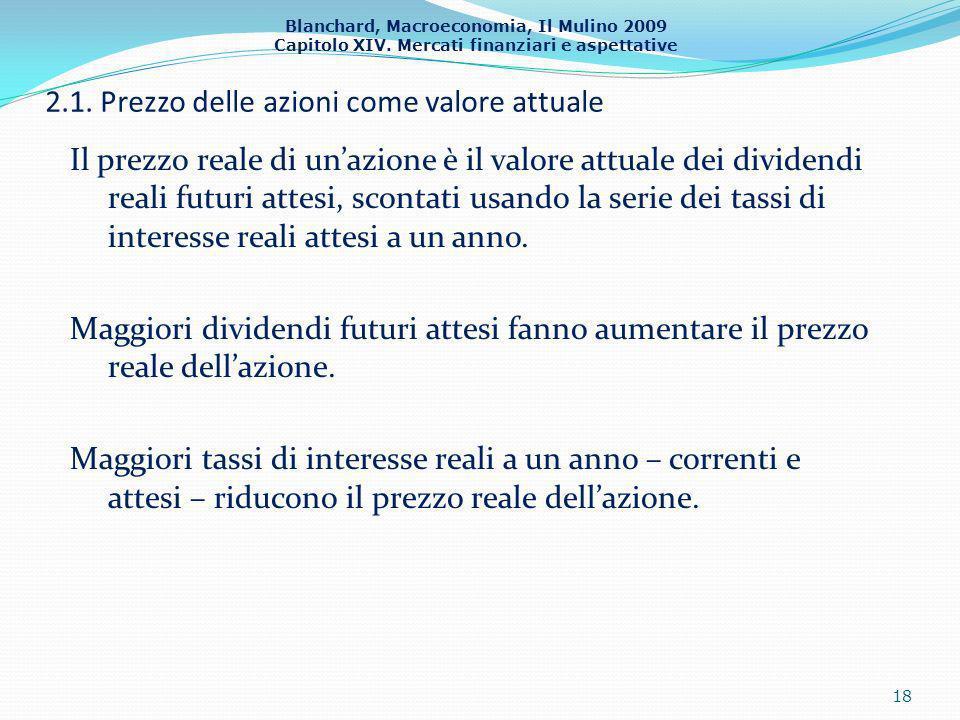 Blanchard, Macroeconomia, Il Mulino 2009 Capitolo XIV. Mercati finanziari e aspettative 2.1. Prezzo delle azioni come valore attuale Il prezzo reale d