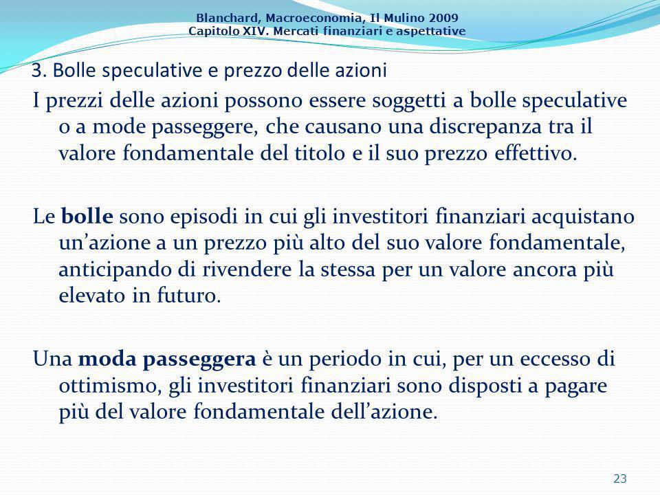Blanchard, Macroeconomia, Il Mulino 2009 Capitolo XIV. Mercati finanziari e aspettative 3. Bolle speculative e prezzo delle azioni 23 I prezzi delle a