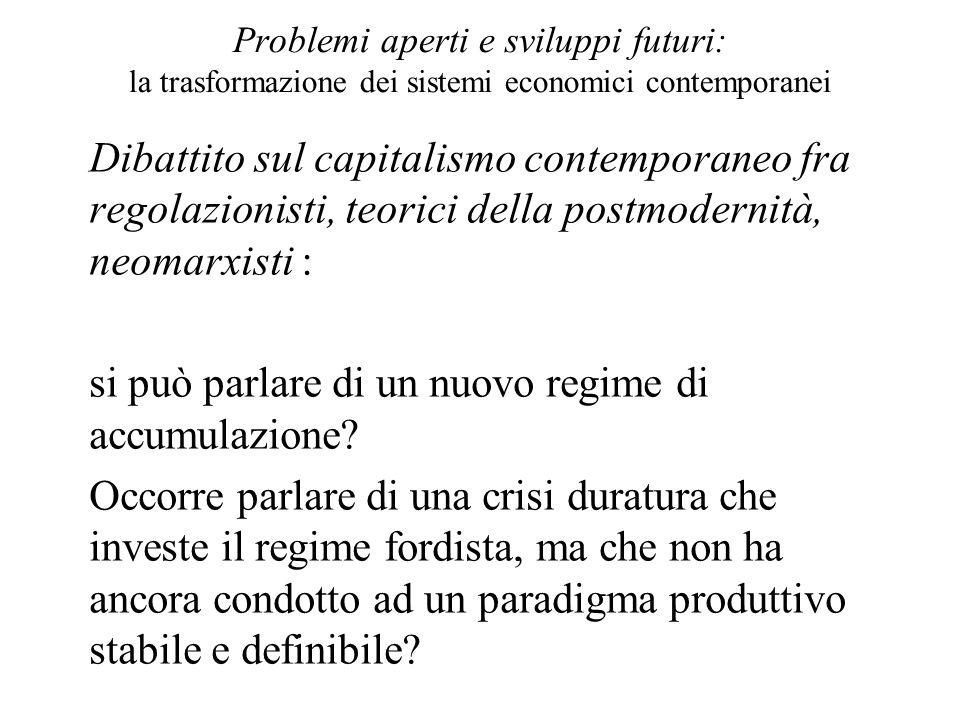 Problemi aperti e sviluppi futuri: la trasformazione dei sistemi economici contemporanei Dibattito sul capitalismo contemporaneo fra regolazionisti, t