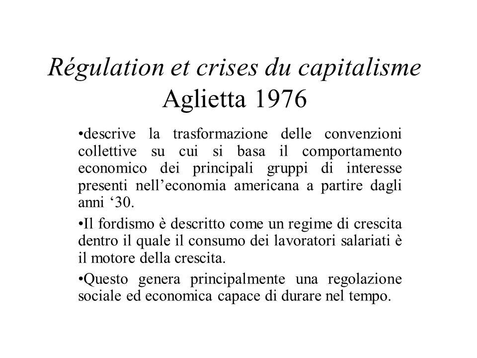 Régulation et crises du capitalisme Aglietta 1976 descrive la trasformazione delle convenzioni collettive su cui si basa il comportamento economico de