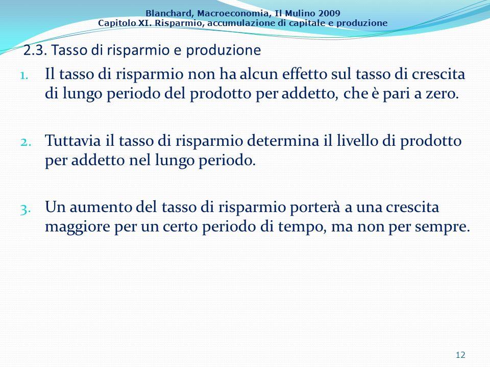 Blanchard, Macroeconomia, Il Mulino 2009 Capitolo XI. Risparmio, accumulazione di capitale e produzione 2.3. Tasso di risparmio e produzione 1. Il tas