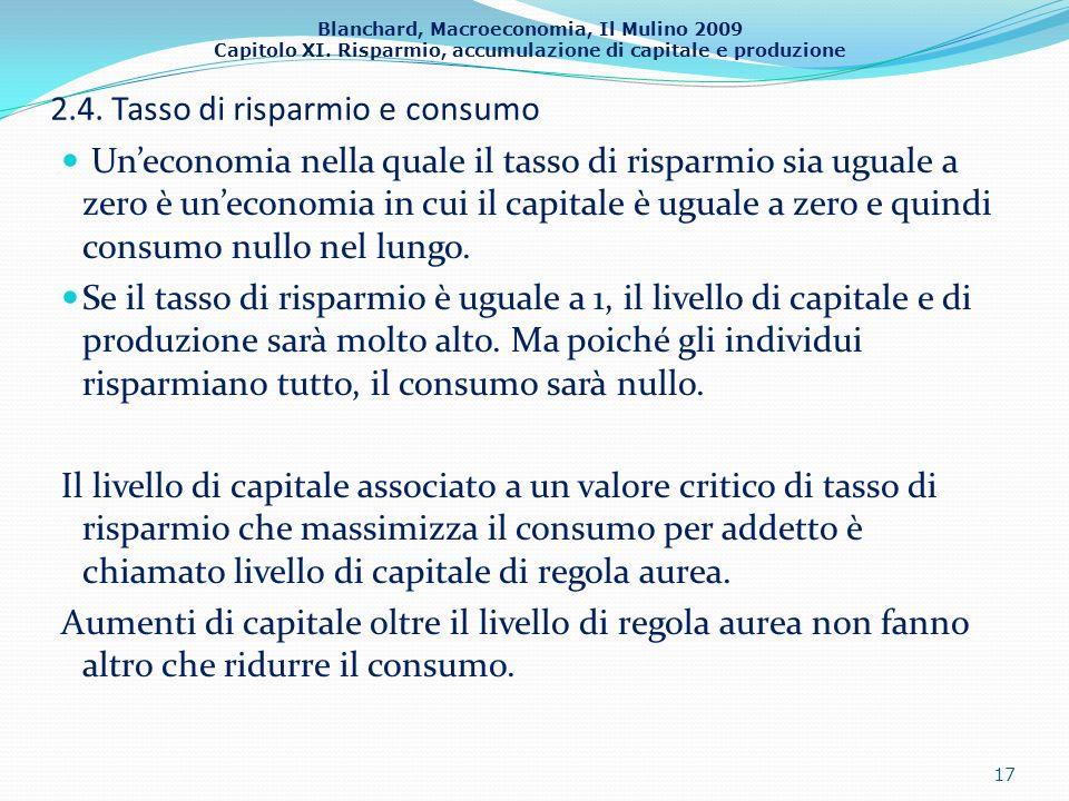 Blanchard, Macroeconomia, Il Mulino 2009 Capitolo XI. Risparmio, accumulazione di capitale e produzione 2.4. Tasso di risparmio e consumo Uneconomia n