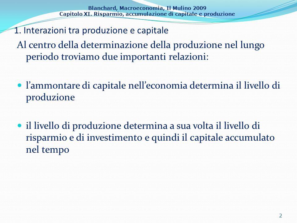 Blanchard, Macroeconomia, Il Mulino 2009 Capitolo XI. Risparmio, accumulazione di capitale e produzione 1. Interazioni tra produzione e capitale Al ce