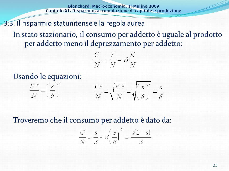 Blanchard, Macroeconomia, Il Mulino 2009 Capitolo XI. Risparmio, accumulazione di capitale e produzione 3.3. Il risparmio statunitense e la regola aur