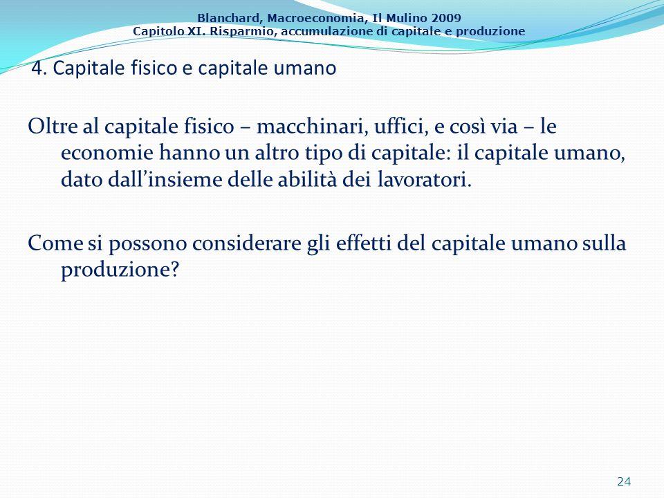 Blanchard, Macroeconomia, Il Mulino 2009 Capitolo XI. Risparmio, accumulazione di capitale e produzione 4. Capitale fisico e capitale umano Oltre al c