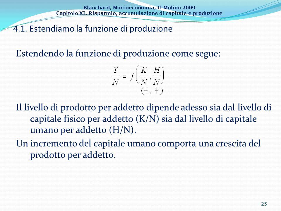 Blanchard, Macroeconomia, Il Mulino 2009 Capitolo XI. Risparmio, accumulazione di capitale e produzione 4.1. Estendiamo la funzione di produzione Este