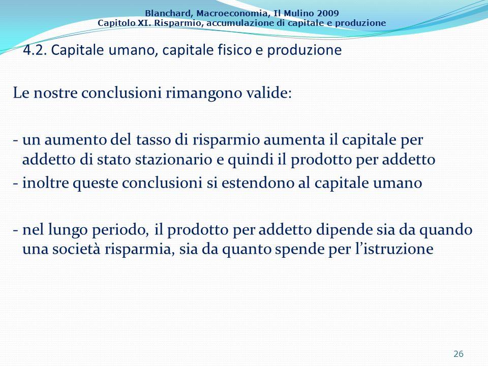 Blanchard, Macroeconomia, Il Mulino 2009 Capitolo XI. Risparmio, accumulazione di capitale e produzione 4.2. Capitale umano, capitale fisico e produzi