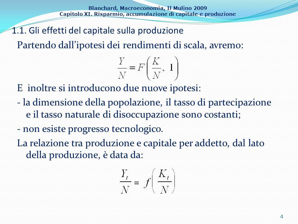 Blanchard, Macroeconomia, Il Mulino 2009 Capitolo XI. Risparmio, accumulazione di capitale e produzione 1.1. Gli effetti del capitale sulla produzione