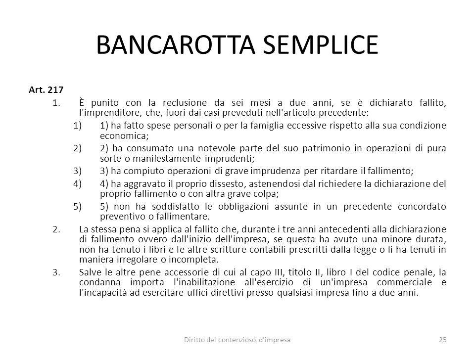 BANCAROTTA SEMPLICE Art.