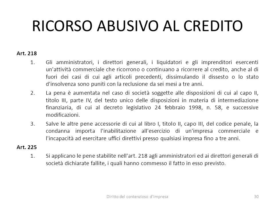 RICORSO ABUSIVO AL CREDITO Art.