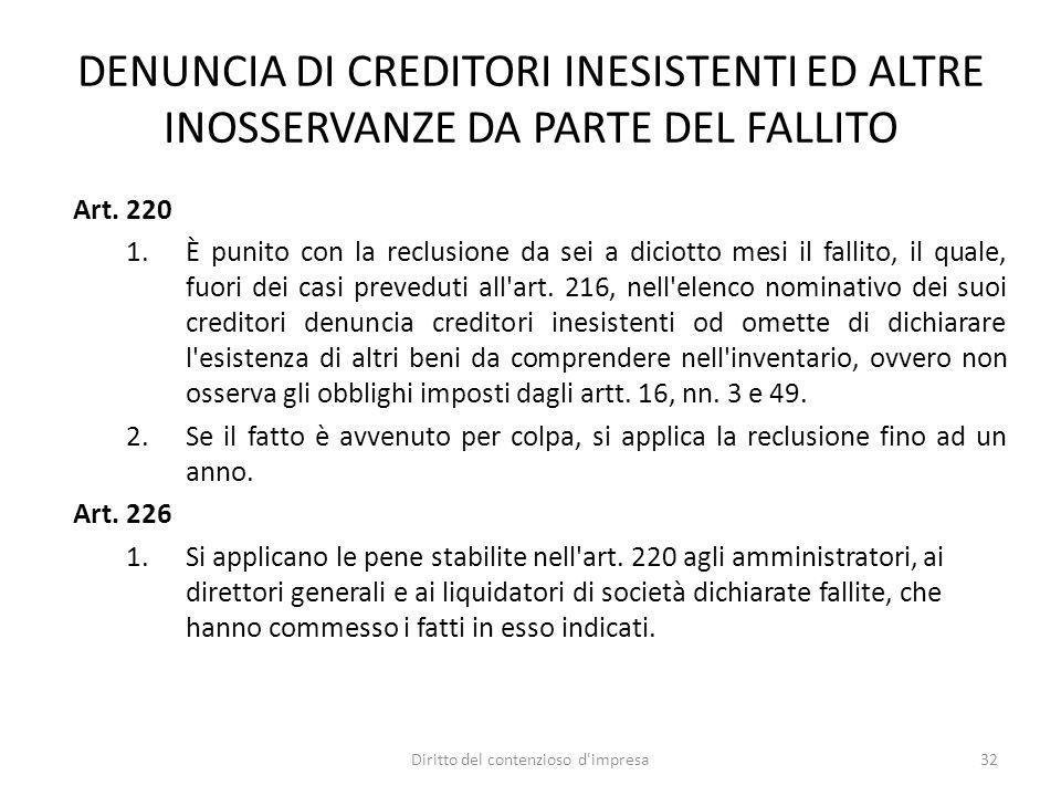DENUNCIA DI CREDITORI INESISTENTI ED ALTRE INOSSERVANZE DA PARTE DEL FALLITO Art.