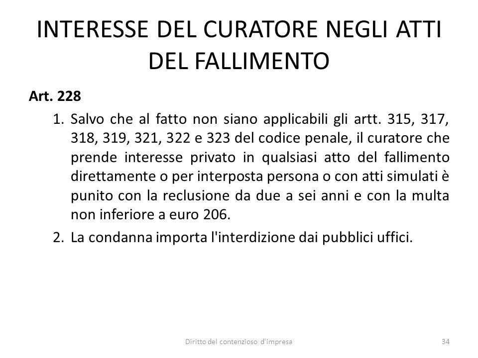 INTERESSE DEL CURATORE NEGLI ATTI DEL FALLIMENTO Art.