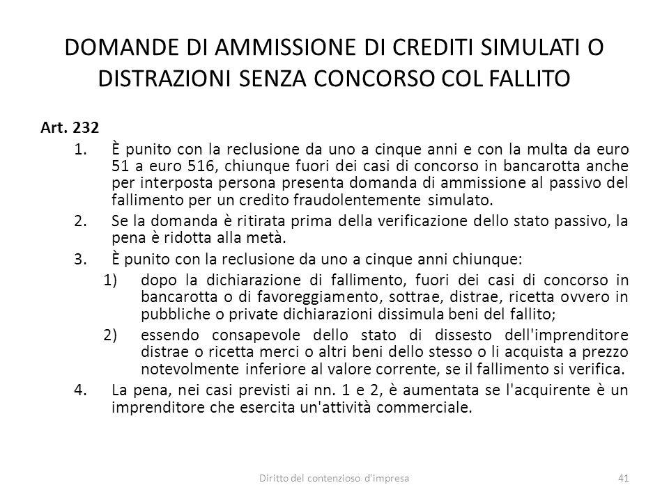 DOMANDE DI AMMISSIONE DI CREDITI SIMULATI O DISTRAZIONI SENZA CONCORSO COL FALLITO Art.