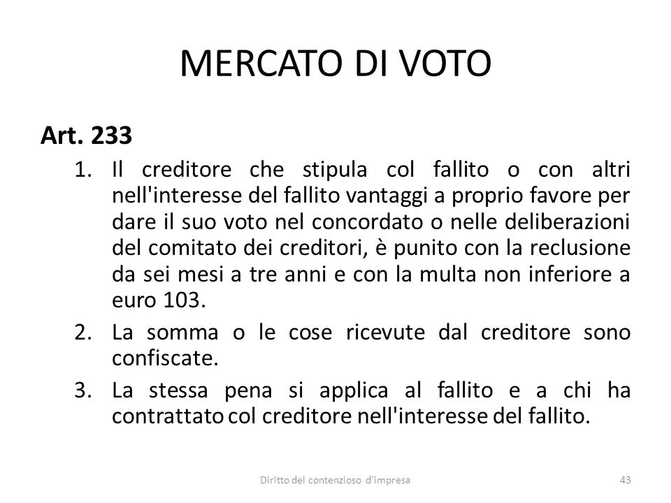 MERCATO DI VOTO Art.