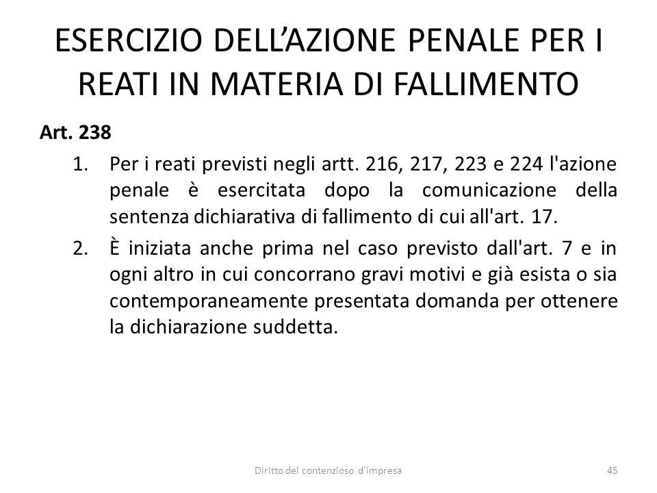 ESERCIZIO DELLAZIONE PENALE PER I REATI IN MATERIA DI FALLIMENTO Art.