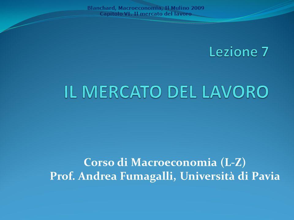 Blanchard, Macroeconomia, Il Mulino 2009 Capitolo VI. Il mercato del lavoro Corso di Macroeconomia (L-Z) Prof. Andrea Fumagalli, Università di Pavia