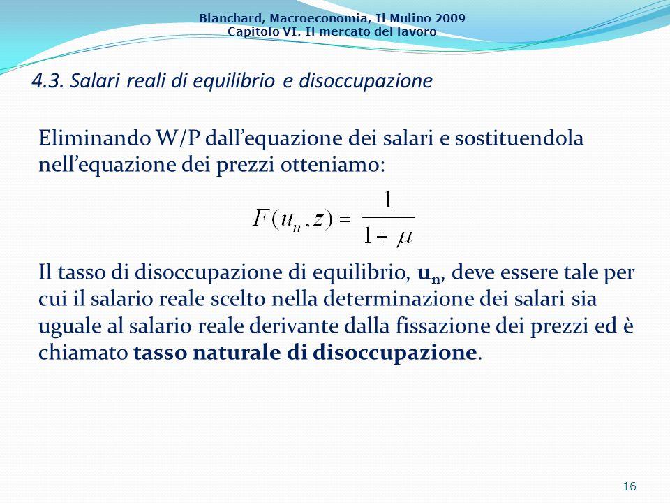 Blanchard, Macroeconomia, Il Mulino 2009 Capitolo VI. Il mercato del lavoro 4.3. Salari reali di equilibrio e disoccupazione 16 Eliminando W/P dallequ