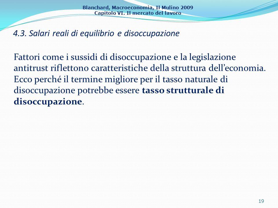 Blanchard, Macroeconomia, Il Mulino 2009 Capitolo VI. Il mercato del lavoro 4.3. Salari reali di equilibrio e disoccupazione 19 Fattori come i sussidi