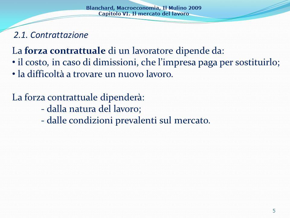 Blanchard, Macroeconomia, Il Mulino 2009 Capitolo VI. Il mercato del lavoro 2.1. Contrattazione 5 La forza contrattuale di un lavoratore dipende da: i