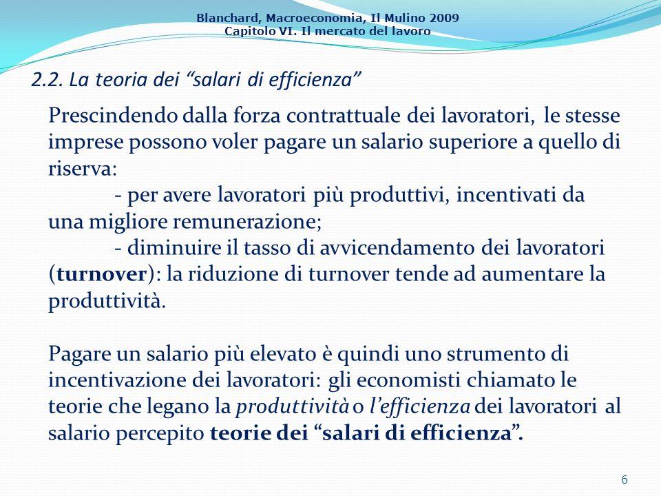 Blanchard, Macroeconomia, Il Mulino 2009 Capitolo VI. Il mercato del lavoro 2.2. La teoria dei salari di efficienza 6 Prescindendo dalla forza contrat