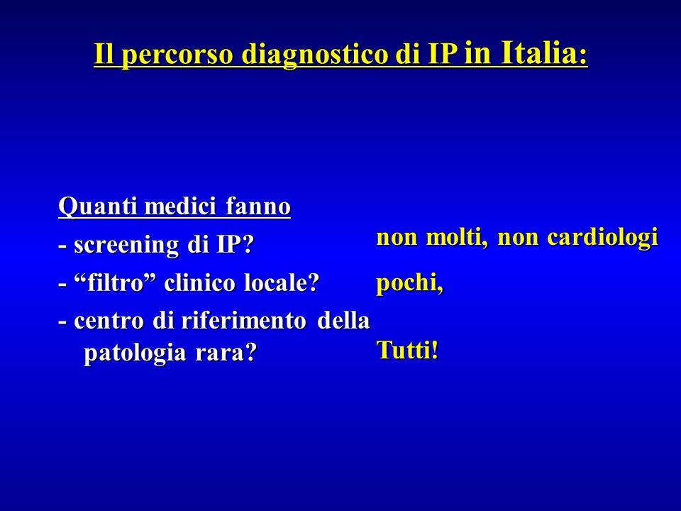 Quanti medici fanno - screening di IP? - filtro clinico locale? - centro di riferimento della patologia rara? Il percorso diagnostico di IP in Italia