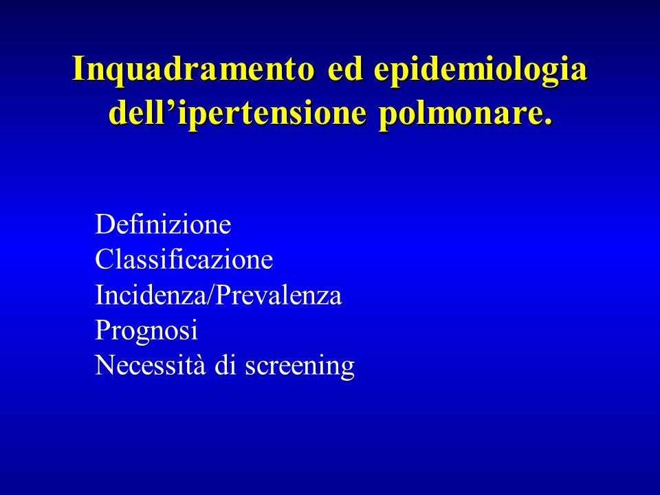 Definizione Classificazione Incidenza/Prevalenza Prognosi Necessità di screening Inquadramento ed epidemiologia dellipertensione polmonare.