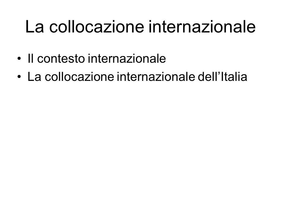 La collocazione internazionale Il contesto internazionale La collocazione internazionale dellItalia