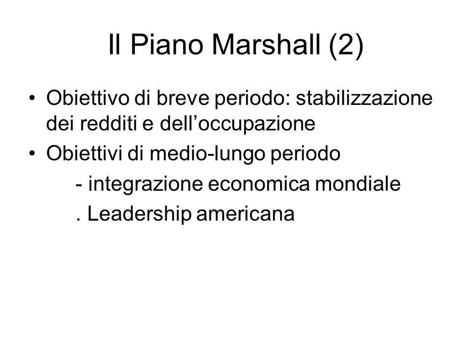 Il Piano Marshall (2) Obiettivo di breve periodo: stabilizzazione dei redditi e delloccupazione Obiettivi di medio-lungo periodo - integrazione economica mondiale.