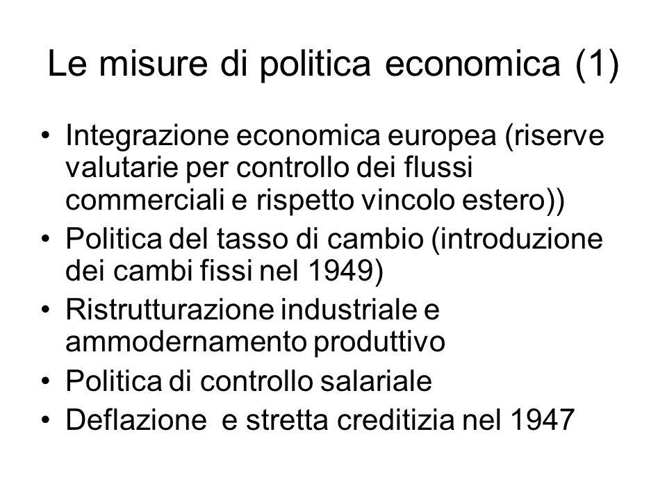 Le misure di politica economica (1) Integrazione economica europea (riserve valutarie per controllo dei flussi commerciali e rispetto vincolo estero)) Politica del tasso di cambio (introduzione dei cambi fissi nel 1949) Ristrutturazione industriale e ammodernamento produttivo Politica di controllo salariale Deflazione e stretta creditizia nel 1947