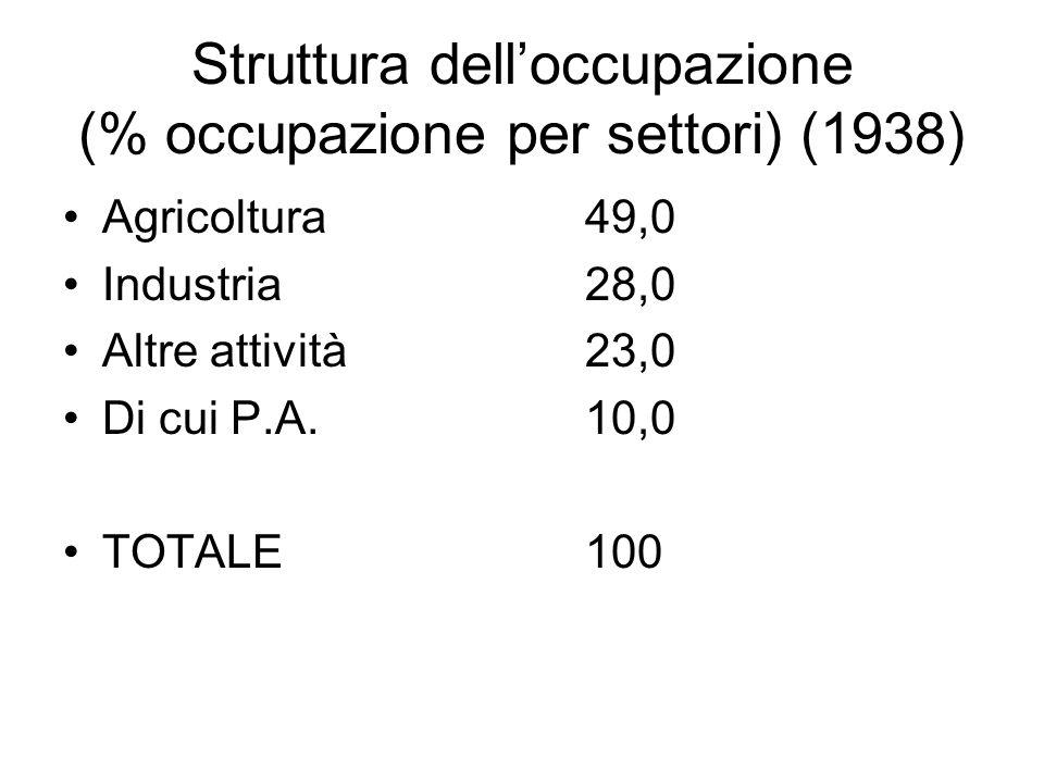 Struttura delloccupazione (% occupazione per settori) (1938) Agricoltura49,0 Industria28,0 Altre attività23,0 Di cui P.A.10,0 TOTALE100
