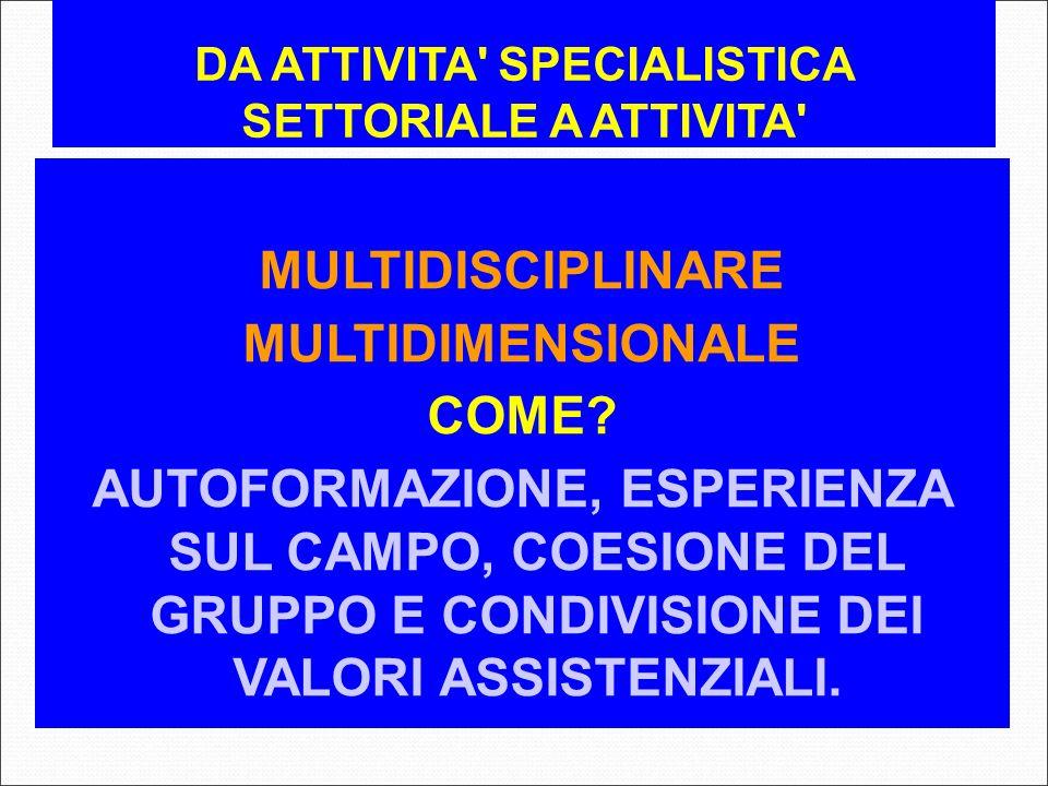 DA ATTIVITA' SPECIALISTICA SETTORIALE A ATTIVITA' MULTIDISCIPLINARE MULTIDIMENSIONALE COME? AUTOFORMAZIONE, ESPERIENZA SUL CAMPO, COESIONE DEL GRUPPO