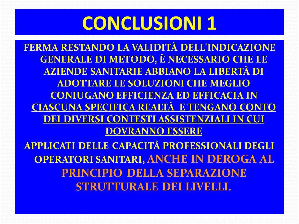 CONCLUSIONI 1 FERMA RESTANDO LA VALIDITÀ DELL'INDICAZIONE GENERALE DI METODO, È NECESSARIO CHE LE AZIENDE SANITARIE ABBIANO LA LIBERTÀ DI ADOTTARE LE