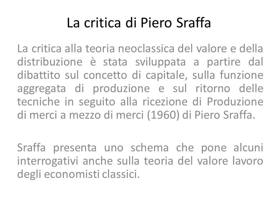 La critica alla teoria neoclassica del valore e della distribuzione Impossibilità di concepire il capitale (K) come una merce, di cui il profitto possa essere considerato il prezzo, essendo il K in realtà un insieme di mezzi di produzione eterogenei.