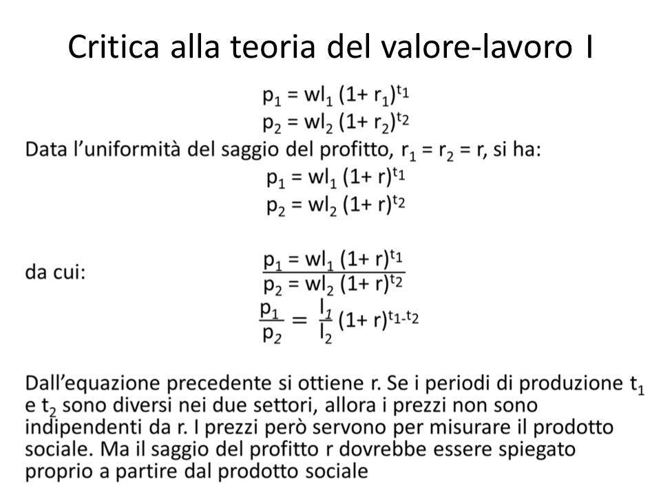 Critica alla teoria del valore-lavoro I