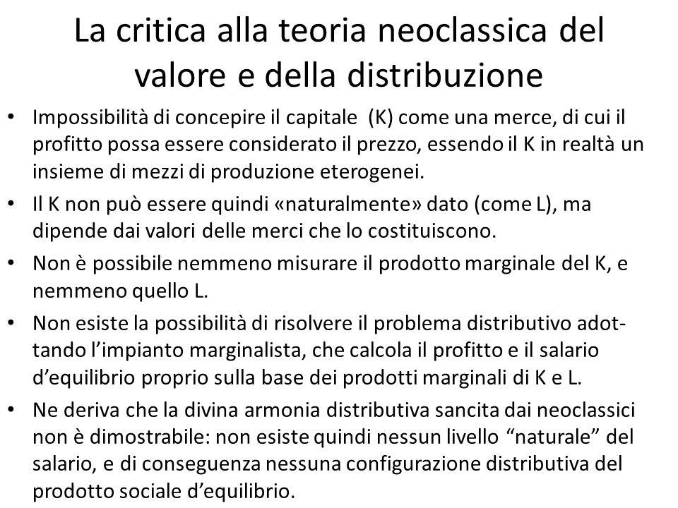 La critica alla teoria neoclassica del valore e della distribuzione Impossibilità di concepire il capitale (K) come una merce, di cui il profitto poss