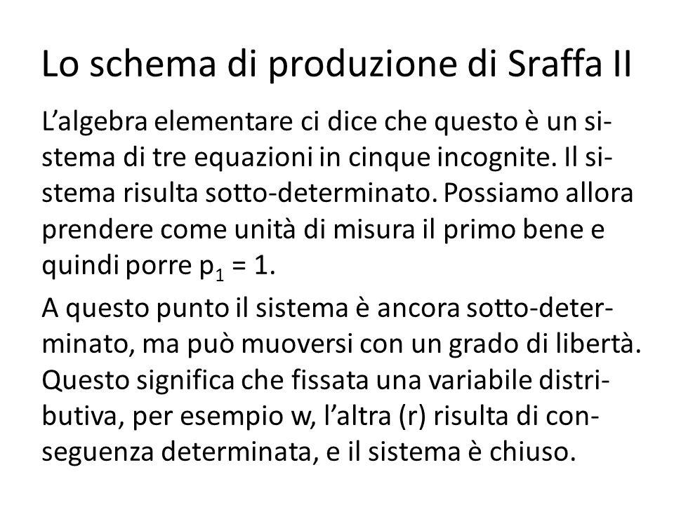 Lo schema di produzione di Sraffa II Lalgebra elementare ci dice che questo è un si- stema di tre equazioni in cinque incognite. Il si- stema risulta