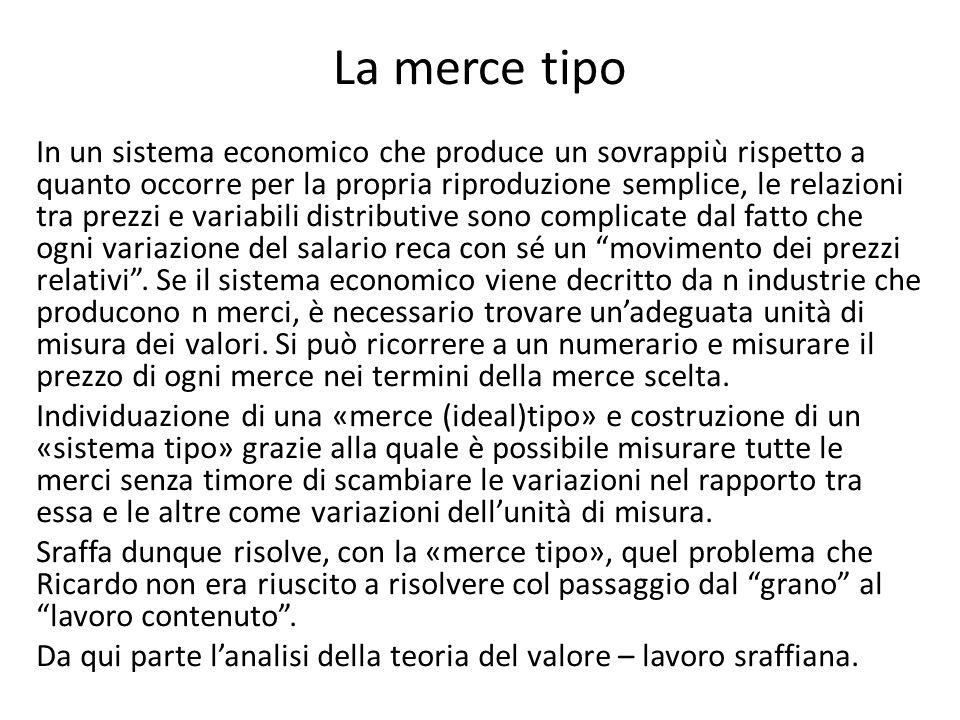 La merce tipo In un sistema economico che produce un sovrappiù rispetto a quanto occorre per la propria riproduzione semplice, le relazioni tra prezzi
