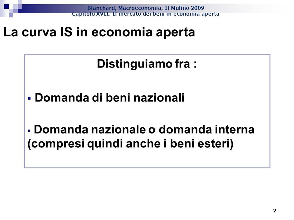 Blanchard, Macroeconomia, Il Mulino 2009 Capitolo XVII. Il mercato dei beni in economia aperta 2 La curva IS in economia aperta Distinguiamo fra : Dom