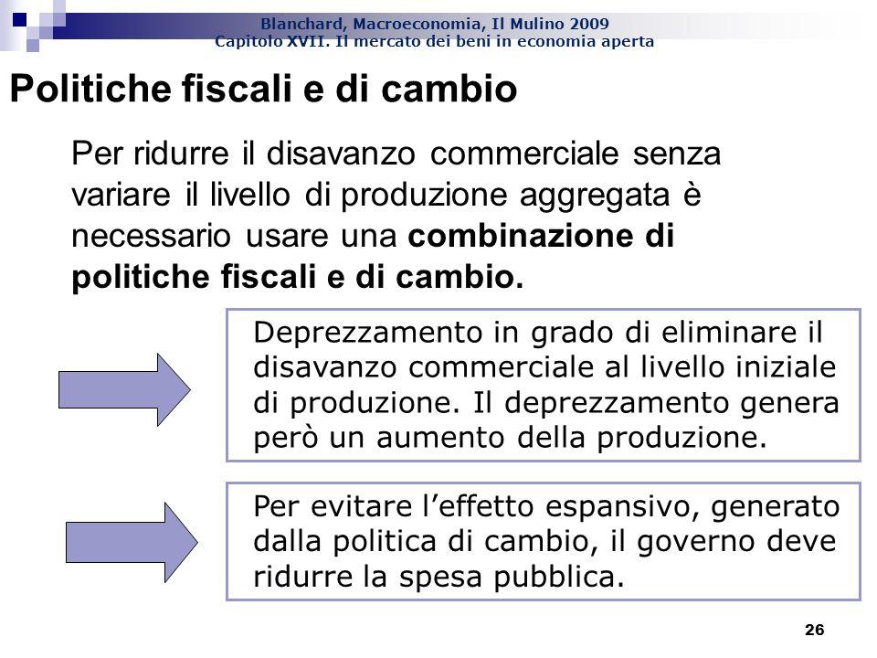 Blanchard, Macroeconomia, Il Mulino 2009 Capitolo XVII. Il mercato dei beni in economia aperta 26 Politiche fiscali e di cambio Per ridurre il disavan