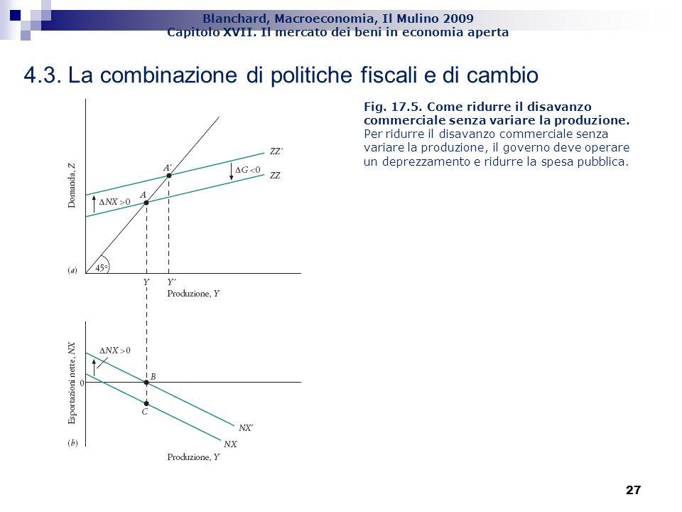 Blanchard, Macroeconomia, Il Mulino 2009 Capitolo XVII. Il mercato dei beni in economia aperta 27 4.3. La combinazione di politiche fiscali e di cambi